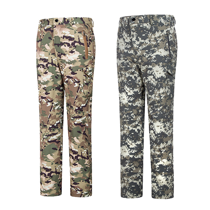 Outdoor Tactical Sharkskin Camouflage Soft shell Men Trousers Waterproof Wear-resisting Warm Fleece Pants Hunting Camping Pants