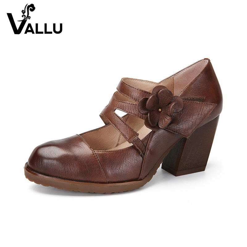Floral Pumps Shoes Woman New Arrival Summer High Heel Shoes Top Grain Leather Ladies Strap Sandal Pumps Retro Style