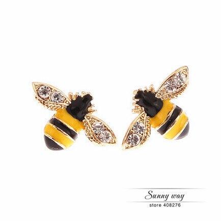 Timlee E140  Free Shipping Cute Rhinestone Bee Studs Earrings  Wholesale