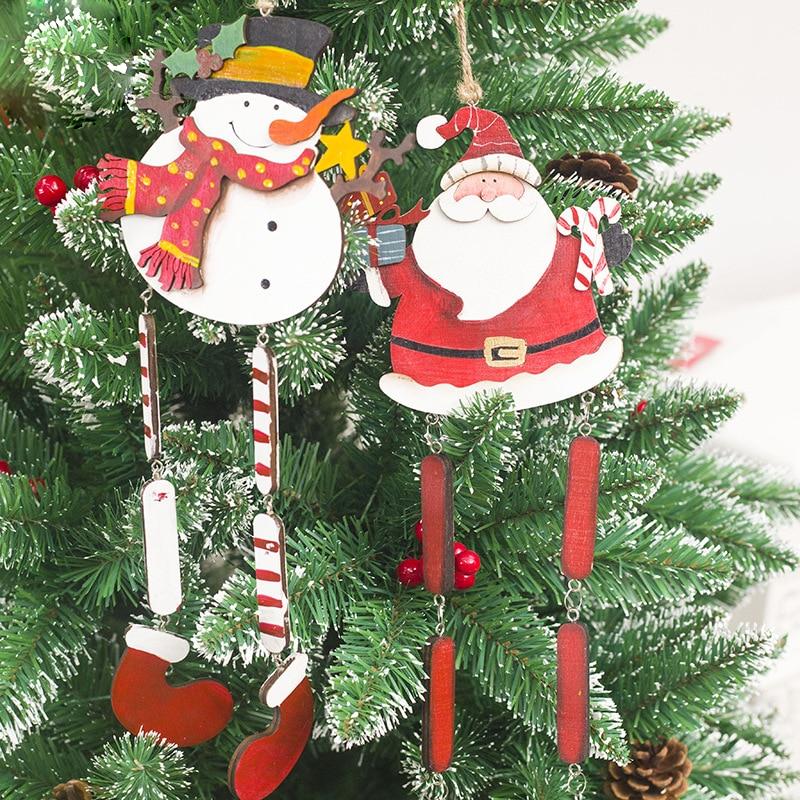 Decorate Christmas Tree Like Snowman: Christmas Wooden Decoration Pendant Long Legs Santa