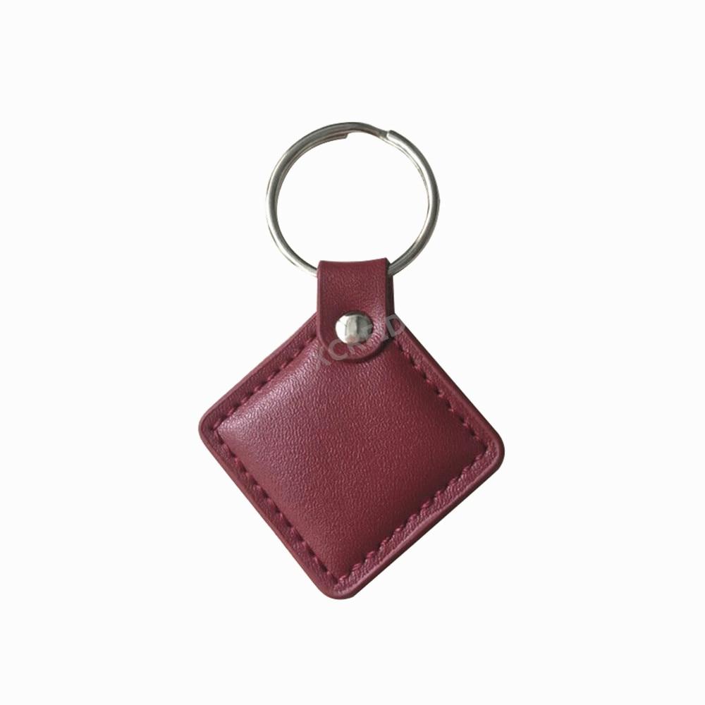 125khz Genuine Leather EM4100 TK4100 Rfid Proximity ID Tags Readable Rfid Keyfobs Tags Llavero Porta Chave Card Sticker Red