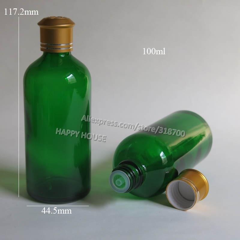 360  x 100ml Green Glass Essential Oil Bottle With Goid  Aluminum Lids