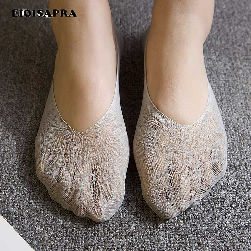 [EIOISAPRA]Silk Mesh Cotton Ultrathin Women Ship Socks Candy Color Comfort Ankel Stealth Socks Antiskid Fashion Meias Sox