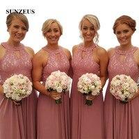 Розовый шифоновое платье трапециевидной формы платья подружек невесты образным вырезом кружевной топ спереди вырез капля фрейлина платья
