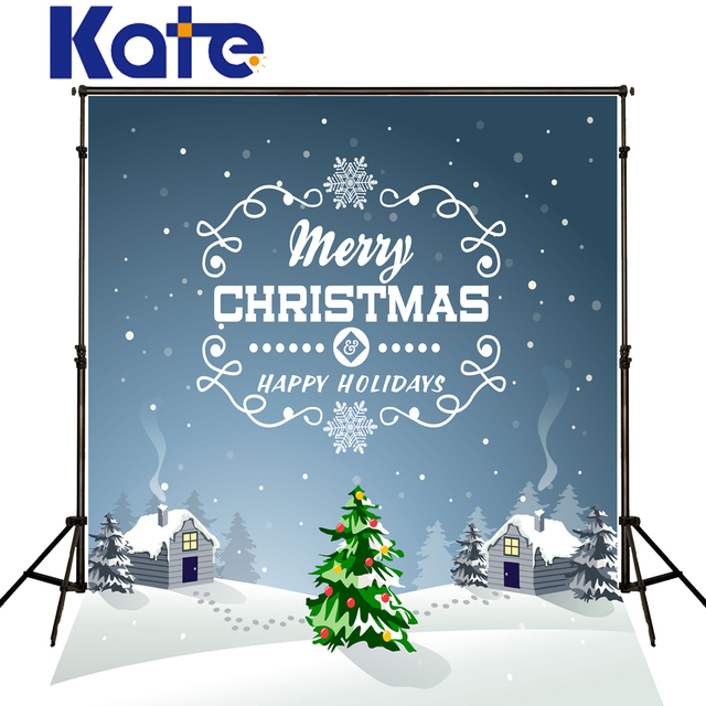 kate merry christmas background photography snow house floor blue wall spot photo shoot backdrop christmas tree - Merry Christmas Background