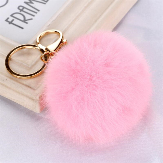 Wholesale Price New 8CM Faux Rabbit Fur Keychain Ball PomPom Cell Phone Car  Keychain Gold Silver Metal Buckle Charm Key Ring f837cedfe557