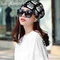 LongKeeper 3 Использование Шляпа Вязаный Шарф и Зимние Шапки для Женщин Полосатый Шапочки Хип-горячая Skullies Девушки Gorros Женщины шапочки