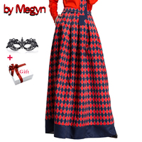 by Megyn maxi long skirt women a line pleated high waist printed floor length retro skirt female christmas party formal skirts