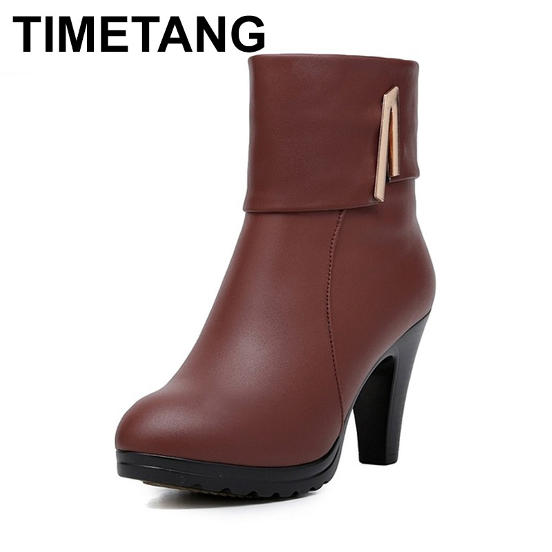 цены TIMETANG New Fashion Warm Fur Women Shoes Winter Ankle Boots Genuine Leather Shoes Woman High Heel Boots Winter Snow Boots