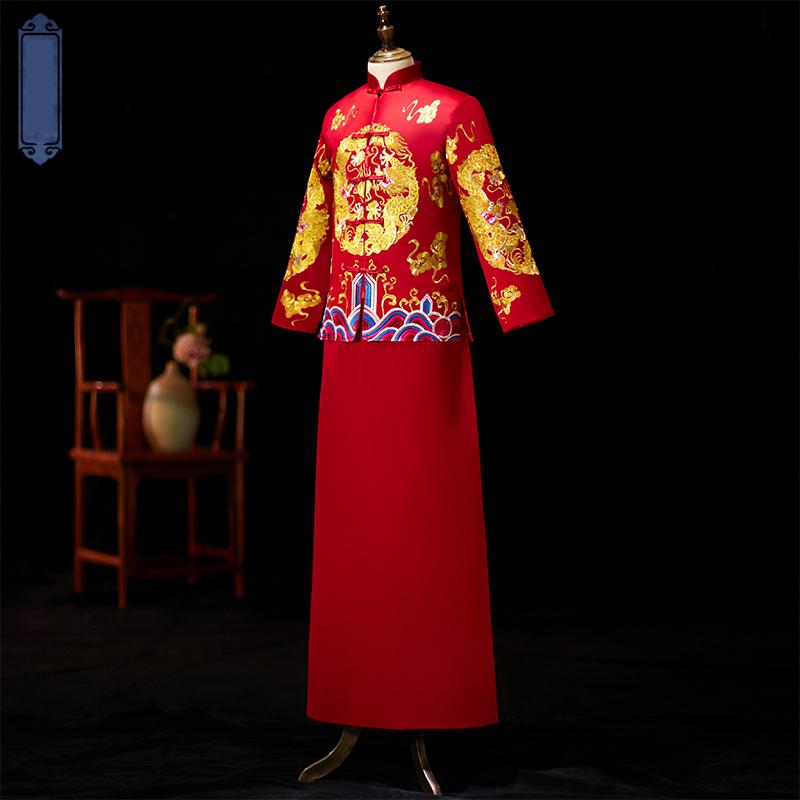 Top Quality Embroidery Men Costume Mandarin Collar Full Length Qipao Vintage Button Dragon Wedding Bridegroom Noble Tang Suit in Cheongsams from Novelty Special Use