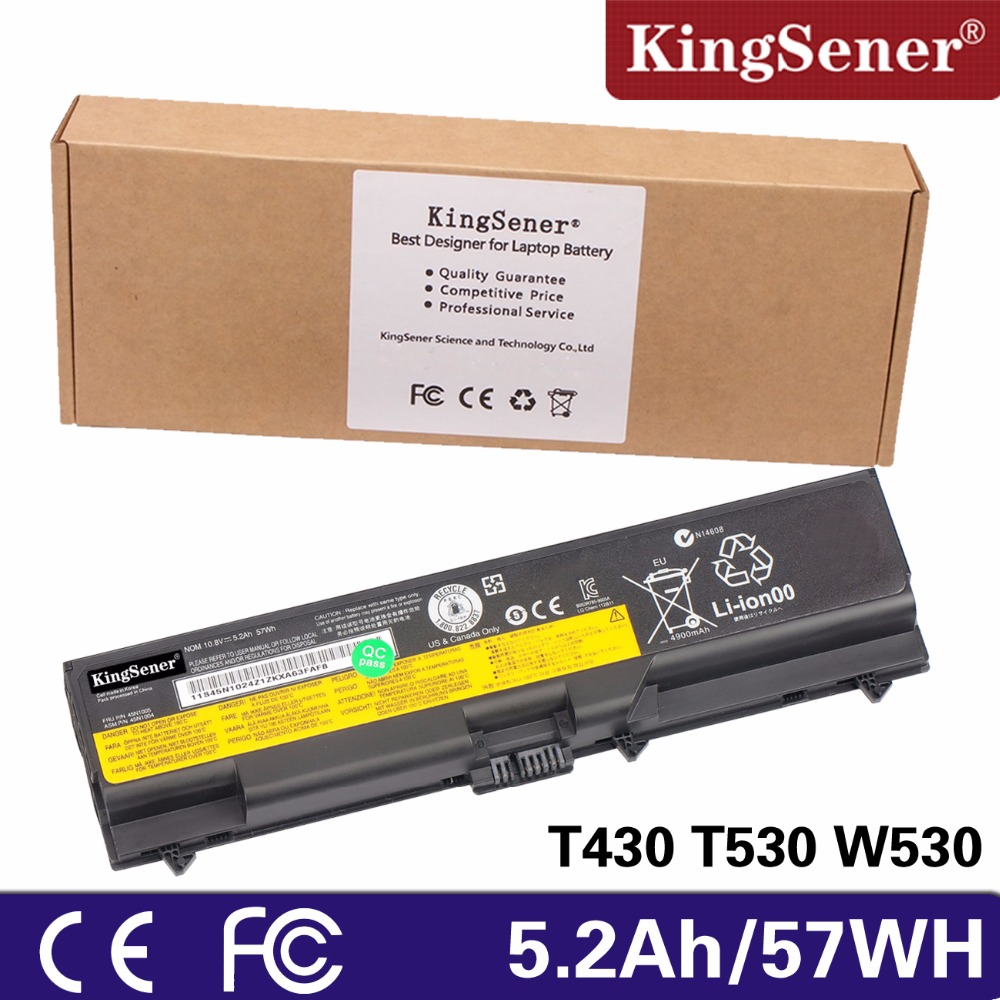 KingSener 10.8V 57WH Laptop Battery For Lenovo ThinkPad T430 T430I L430 T530 T530I L530 W530 45N1005 45N1004 6CELL 10 8v 5 2ah genuine new laptop battery for lenovo thinkpad t400 t61 t61p r61 r61i r400 14 42t4677 42t4531 42t4644 42t5263 6cell