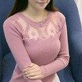 2016 Осень дамы Трикотажные рубашки с длинными рукавами Женщин Свитер Корейский Стиль Тонкий Сексуальный Лоскутное вышивка кружева Пуловеры Свитер