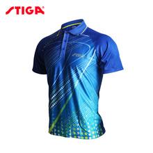 Stiga tenis stołowy Odzież męska damska odzież T-SHIRT Koszulka z krótkim rękawem ping pong Jersey Sport koszulki tanie tanio Mężczyzn Pasuje do rozmiaru Weź swój normalny rozmiar CA-83111
