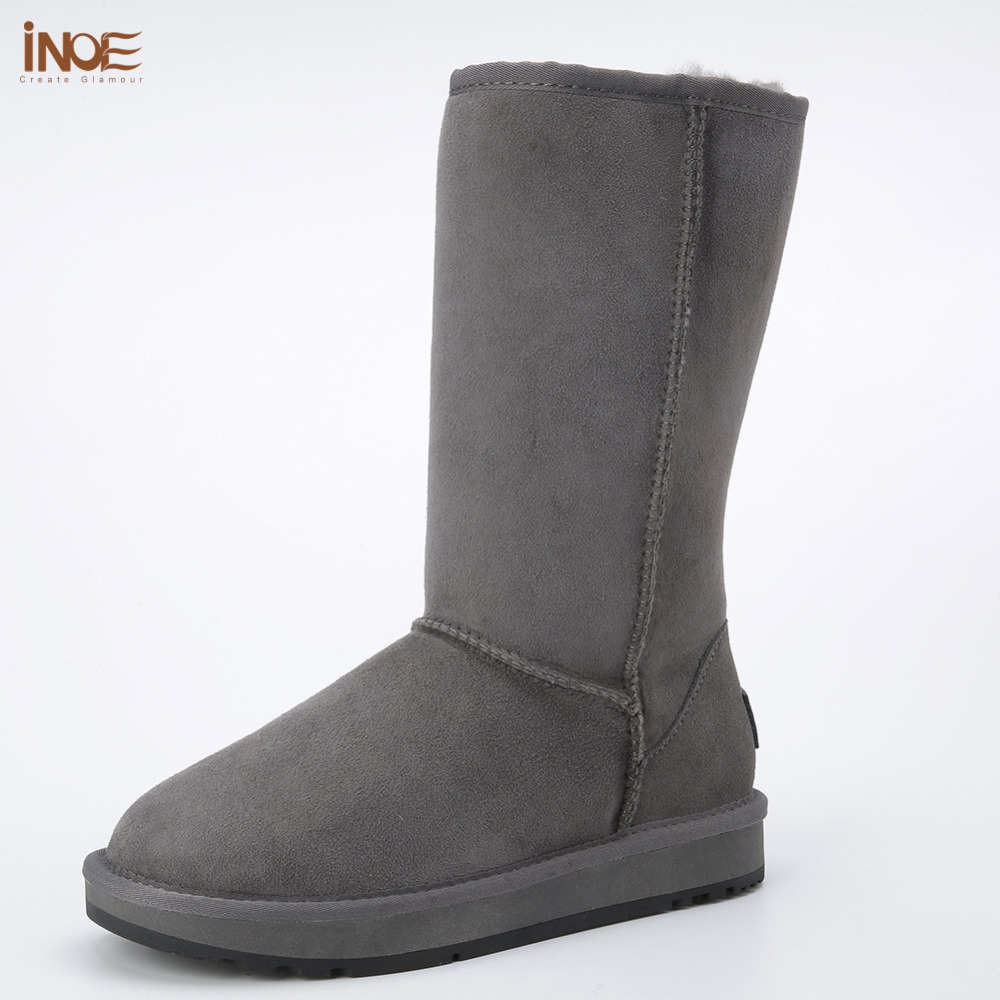 Classic high man suede real sheepskin leather fur lined winter snow boots for men winter shoes brown black rubber sole 38-44 inoe suede high snow boots for women winter shoes sheepskin leather fur lined big girls tall wool thigh winter boots black brown