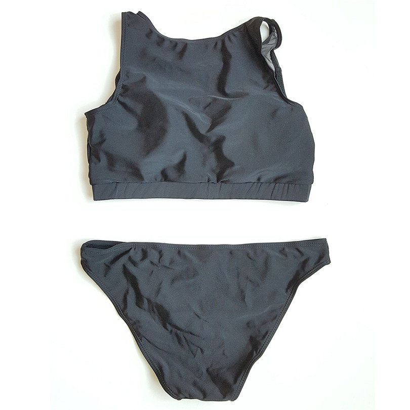 c7c59f1da5 Black Mesh Bikini Women Swimsuit Sports 2 Pieces Bathing Suits Beach May  High Neck Tank Swimwear Maillot De Bain Femme DK67-in Bikinis Set from  Sports ...