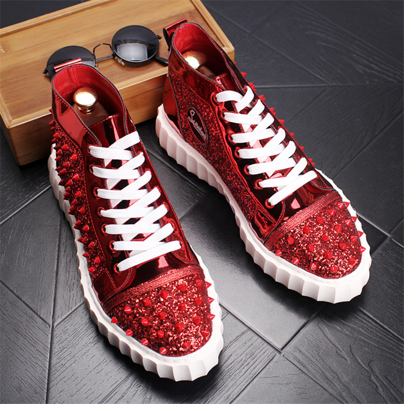Lacets Top 30d50 Plein red High En Marque Pour Air Black Sneakers Homme À Conception Mode Hommes gold Spikes De Chaussures Rouge xq7T86