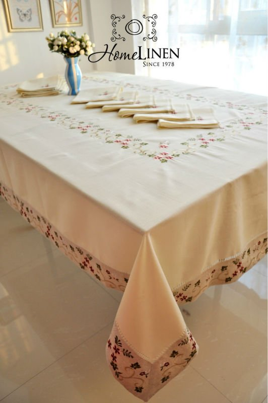 Daisy Embroidery Table cloth/8-14 chairs Tablecloths/ Extra Long Tablecloth Embroidered