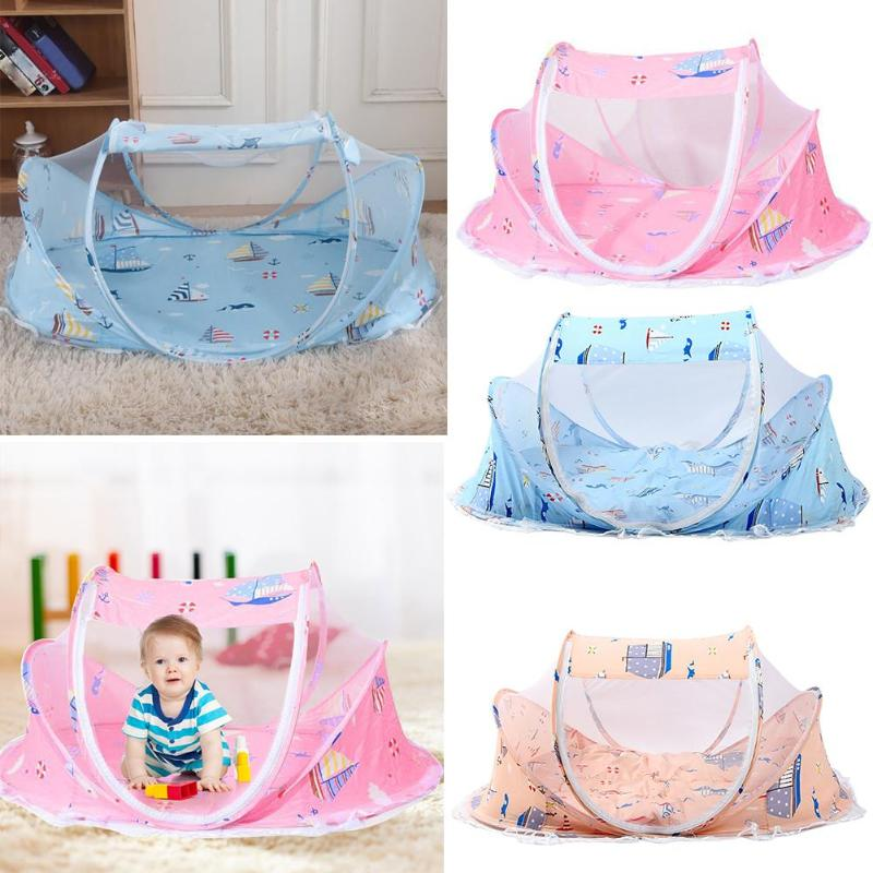 Foldable Summer Baby Mosquito Net Cartoon Print Travel Tent With Cushion