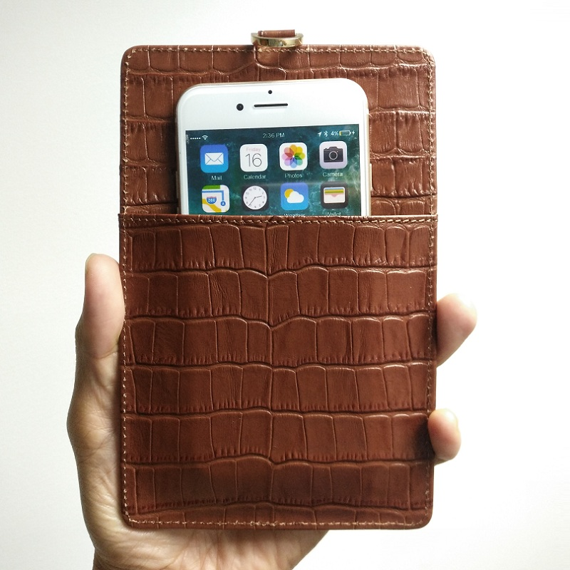 Genuine Leather Card Holder Strap Phone Pouch Bag Case For iPhone X XS Max XR 7 8 6 6S Plus Luxury Crocodile Thin Cover Brown