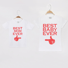 купить 2019 Family Costumes Short Sleeve T-Shirt Bast Baby Ever 100% Mother And Daughter Clothes Matching Outfits Father Son Clothing дешево