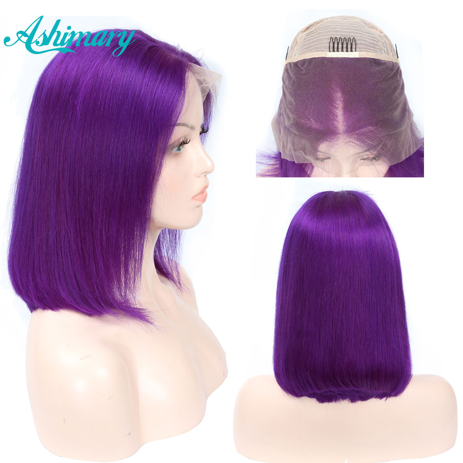 Wigs Remy Human-Hair-Wigs Transparent Lace Lace-Front Orange Colored Green Straight Bob