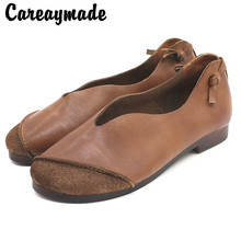 Careaymade-New Spring Vintage cowhide womens leisure fashion soft sole shoes pure handmade Comfortable casual