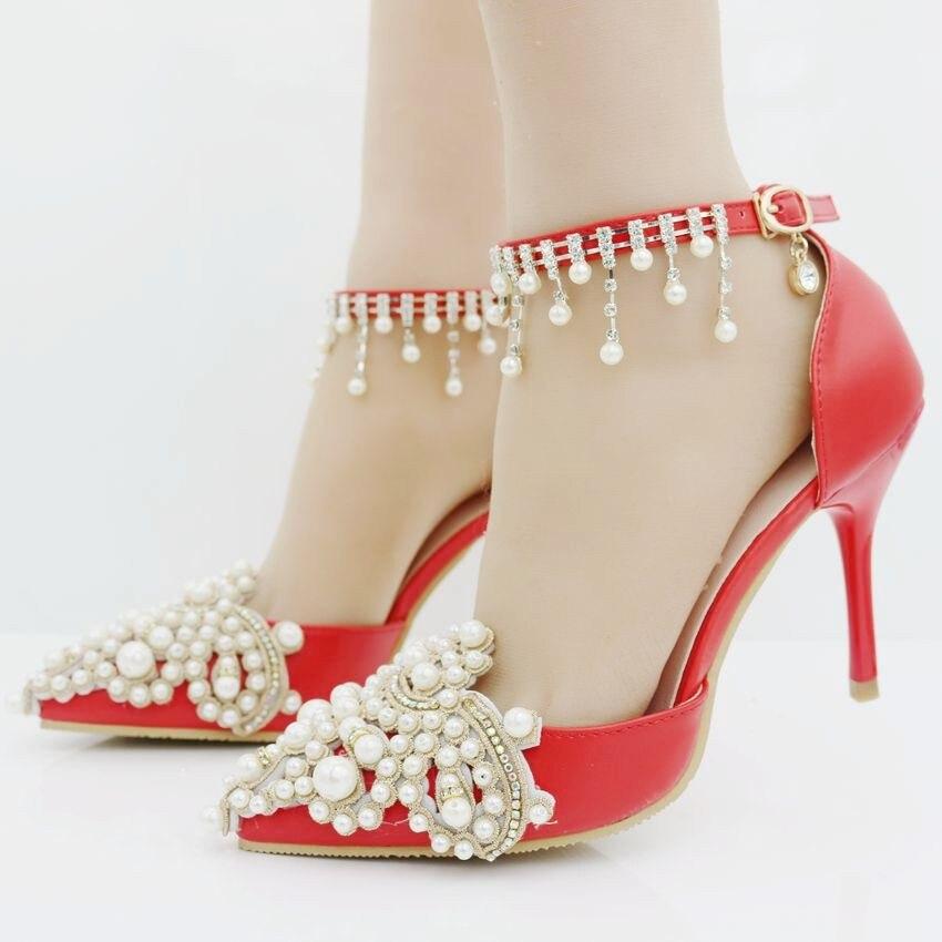 ФОТО Elegant Heels wedding heels pointed toe thin high heels pumps for women string beading pearls wedding party heels women 2017