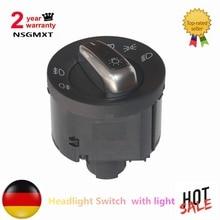 Headlight Switch  with light  For VW/Jetta/GTI/Golf MK5 MK6 Auto Chrome 3C8941431A  / 5ND941431B
