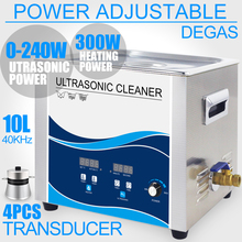 Industrial Ultrasonic Cleaner 10L Bath 240W Transducer Degassing Heater Power Adjustable Ultrasound Engine Car Medical Parts