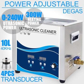 Portable Ultrasonic Cleaner 10L Bath 240W Transducer Degassing Heater Power Adjustable Ultrasound Engine Car Motor Medical Parts