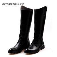 PAŹDZIERNIK SUNSHINE Korea Południowa style moda męska Kolana Wysokie Buty modne przystojny Lace-Up Konna martin butów dla mężczyźni