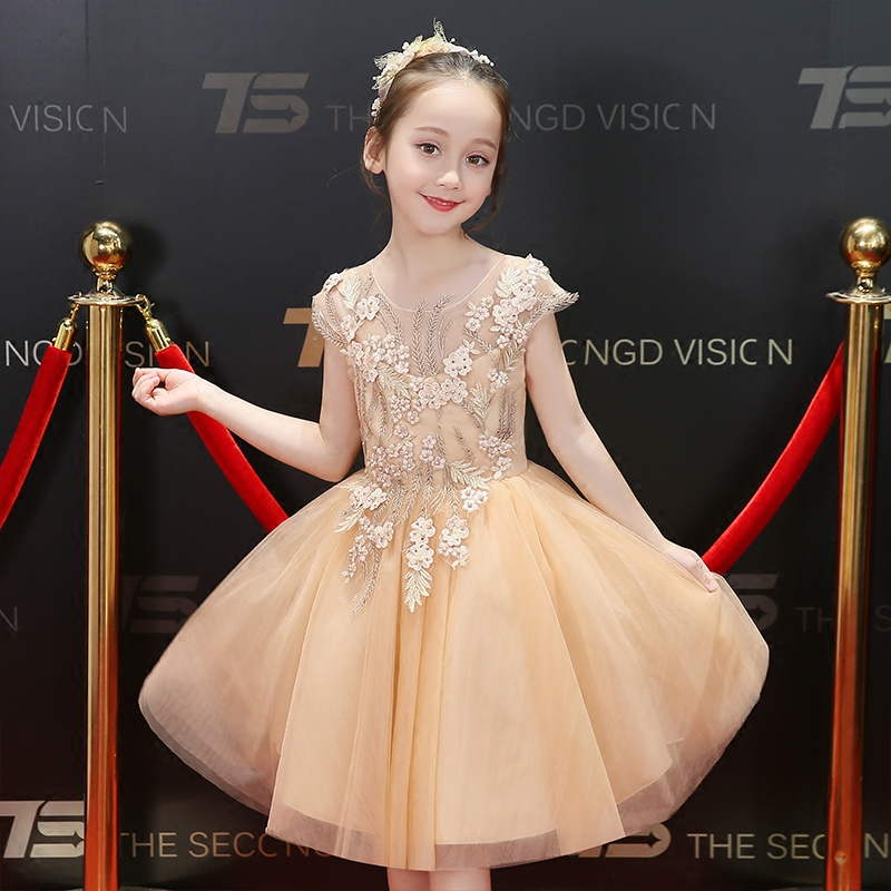 Girl Kids Summer New Dress Flowers Clothes Baby Children Elegant Wedding Events Party Birthday Ball Gown Dress Children Clothing hot sale new 2016 summer girl dress cat print baby girl dress children clothing children dress 2 6years