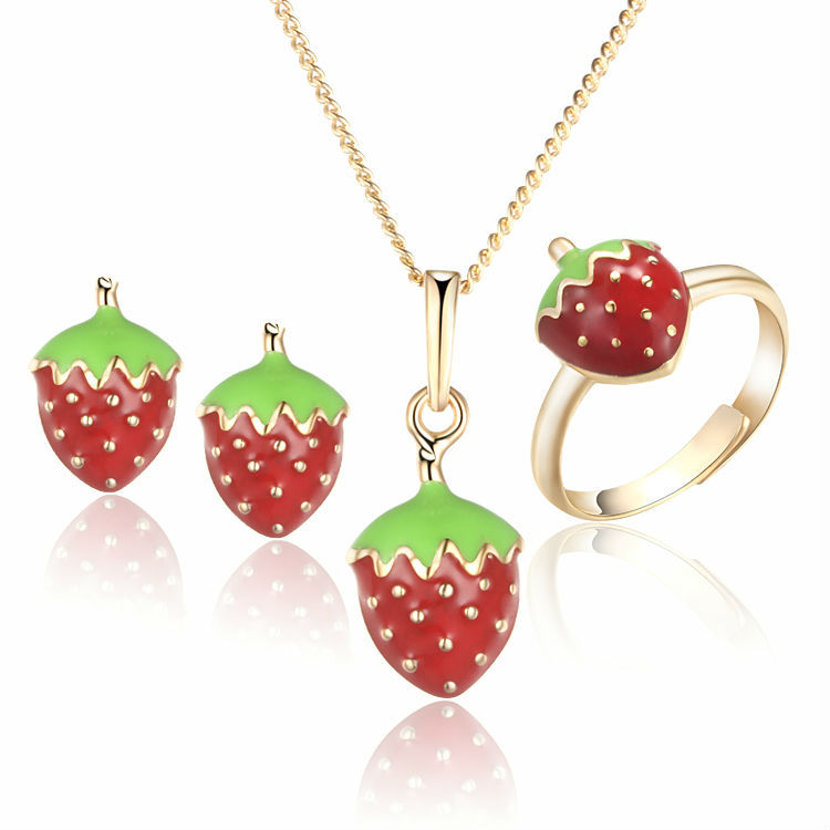 Baby Kids Jewelry Sets Ring Earrings Pendant Necklace Gold-Color Strawberry Children Jewellery Free Shipping 7S18K-69