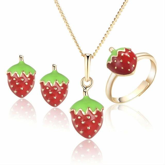 Kids Schmuck Sets Ring Ohrringe Anhänger Halskette Gold Farbe ...