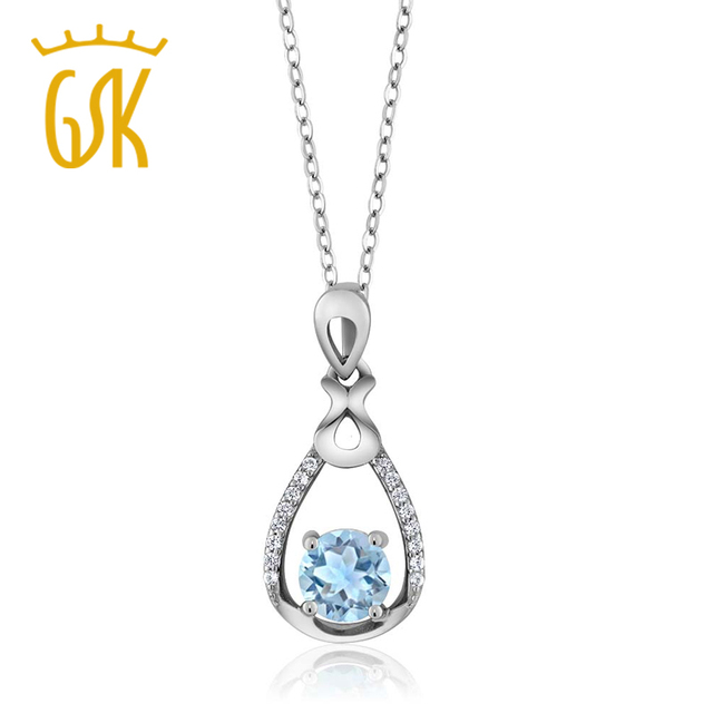 GemStoneKing 0.94Ct Round Natural Sky Blue Aquamarine 925 Sterling Silver Vintage Pendant Necklace For Women 2016 Christmas Gift