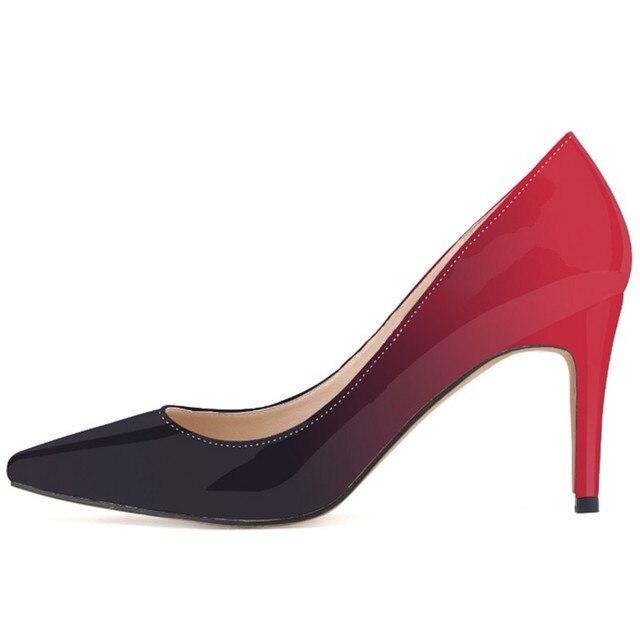 Nova Loslandifen marca mulheres bombas de salto alto sapatos de mulher de casamento festa de senhoras vestido OL apontou toe stiletto sapato cor Gradiente