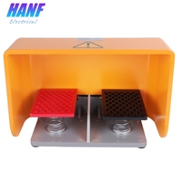 1pcs 16A/250VAC Aluminium Alloy Foot Pedal Switch Double Self return 1NO1NC x 2 with Protective Covering