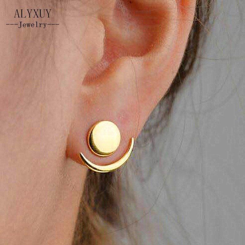 2018 Fashion Simple Sun Moon Earrings for Women Gold Color Earrings Statement Jewelry Wholesale E0204