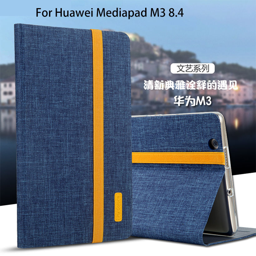 Silicon + Cloth PU Funda de cuero para Huawei MediaPad M3 BTV-W09 BTV-DL09 8,4 pulgadas Smart Sleep Funda Soporte de soporte Tablet Shell Funda