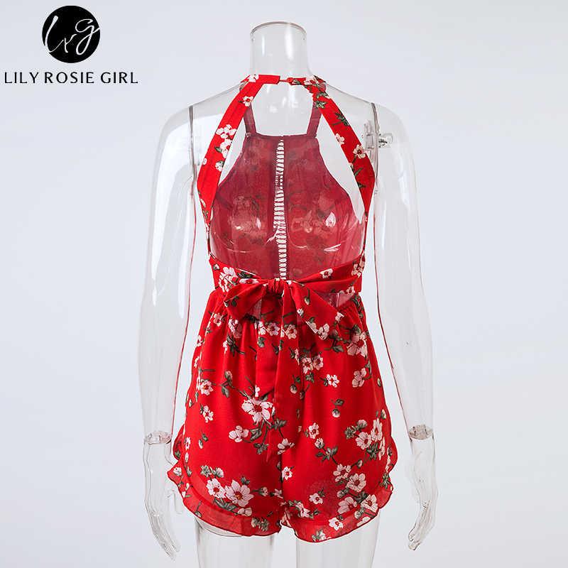 Nlw с открытыми плечами для девочек красный Цветочный принт с лямкой на шее легкий костюм с шортами Для женщин сексуальные летние, пляжные, в богемном стиле детские комбинезоны вечерние комбинезоны