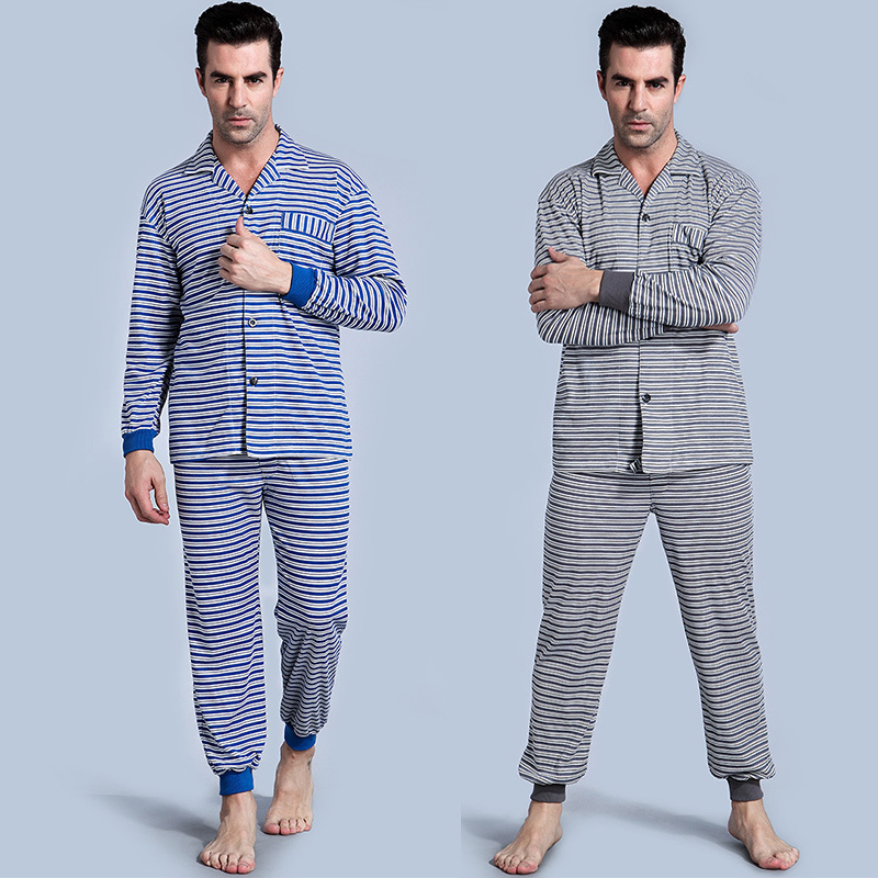 Men's Pajamas short Sleeve Cotton knitting Pyjamas Trousers stripe Mens sleepwear Lounge  Sleep Pajama Set