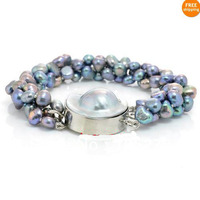 New Arriver Jewelry 8 Black Blue Overtone Ex Luster AA 7 8MM Freshwater Pearl Mabe Bracelet
