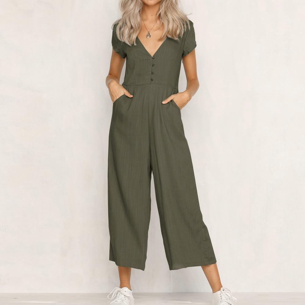 Jumpsuit Summer Women Long V-Neck Short Sleeve Wide Leg Strappy Holiday Long Playsuits Trouser Jumpsuit 2018 Jumpsuit F#J06 (12)