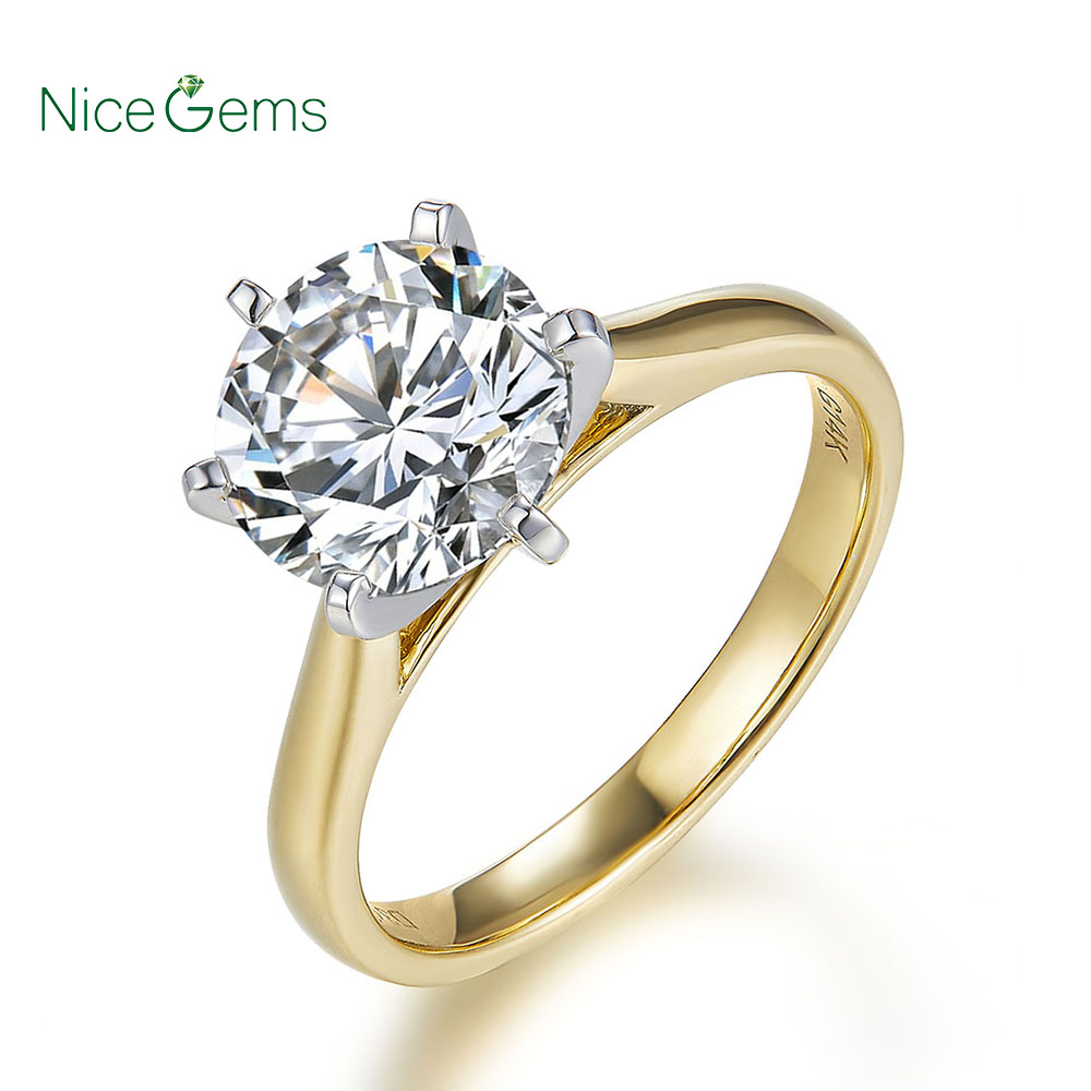 Nicegems 14 k 585 2 톤 골드 moissanite 약혼 반지 여성 센터 2ct 또는 1ct moissanite 골드 반지-에서반지부터 쥬얼리 및 액세서리 의  그룹 1