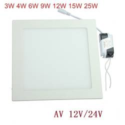 AC 12 В/24 В светодиодный потолочный светильник 3 Вт-25 Вт теплый белый/натуральный белый/холодный белый квадратный ультра тонкий светодиодный