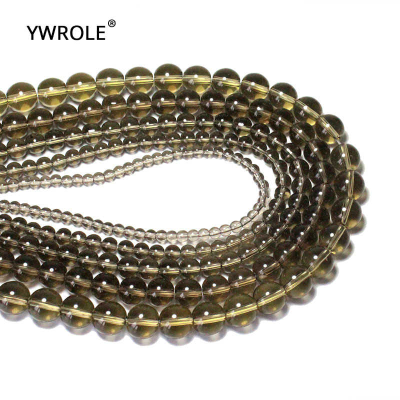 """סינטטי סמוקי Quartzs טבעי גביש אבן חרוזים עבור תכשיטי ביצוע DIY צמיד שרשרת 4/6/8/10 /12 מ""""מ גדיל 15''Wholesale"""