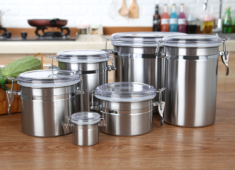 Jar Lunch-Bowl Stainless-Steel Storage-Bottles Sugar Food-Sample Home Kitchen Tea 1PC