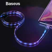 Baseus Flat Glowing 2.4A USB Cable for iPhone Xs Max 8 Plus 1M Fast Charging Sync Data Line LED USB Cable for iPhone SE 7 Cabo