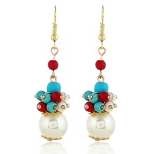 Retro Simulated Pearl Long Drop Earrings Colored Blue Beads Dangle Bohemian Jewelry For Women
