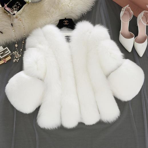 Dames Femmes Fourrure De Parka Veste Patchwork Faux Manteau Court gris rose Vintage Vison Blanc Wr748 Fluffy 2018 Renard Slim Hiver OqdxftOw4